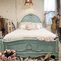 Painted Cottage Shabby Aqua Romantic Bed