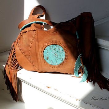 Large leather tote with turquoise and brown leather bag bohemian ethnical tribal purse oversized rysted color raw edge asymmetrical pocket