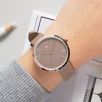 ASOS Lifestyle Cream & Rose Gold Clean Dial Watch at asos.com