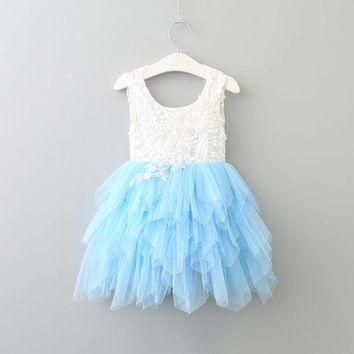Summer New Girl Lace Dress Gauze Princess Vest Dress Girl Party Sundress Layered Dress Children Clothing E16900