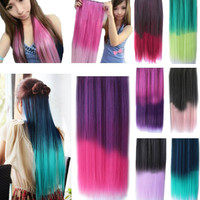 5 Clips Heat Resistant Fiber Synthetic Hair Extensions Straight T Color More Colors Womens High Temperature Hairpiece