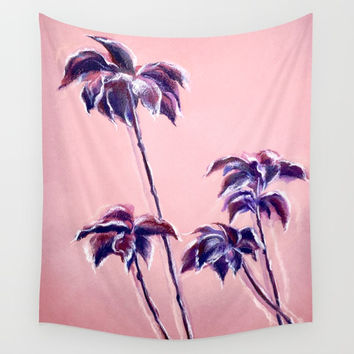Maroon Leaves_Pastel and watercolor painting on colored paper Wall Tapestry by Alla Gorelik