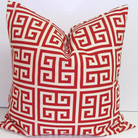 Red Pillow.18x18 inch.Greek Key.Decorator Pillow Cover.Printed Fabric Front and Back.Maze.Geometric.Primary Red.Pillow