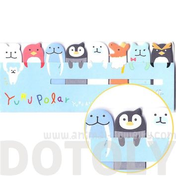 Polar Bear Walrus Penguin Shaped Arctic Animal Themed Memo Pad Post-it Index Sticky Bookmark Tabs