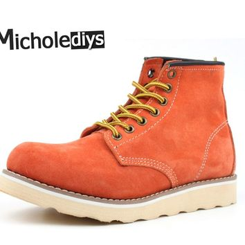Micholediys New Arrival Spring Handmade Vintage Nubuck Men's Boots Red shoes Martin Tooling Botas Wing Boots Work Safe Shoes
