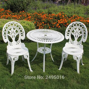Bistro Set Table and Chairs White Cast Aluminum Garden Furniture