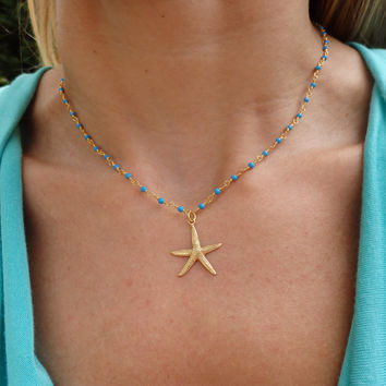 Starfish Turquoise Beaded Choker Statement Necklace