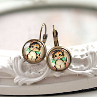 Pretty cat  earrings sweet lolita feminine leverback kitty kitteh