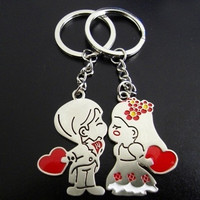Cute Unique Couples Braid groom Bride Design Key Chain Set for Lovers, Lovers' Key Chain, Key Ring Set Keychain (Color: Silver) = 1705562756
