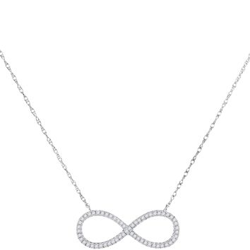 10kt White Gold Women's Round Diamond Infinity Pendant Necklace 1-6 Cttw - FREE Shipping (US/CAN)