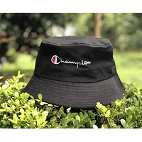 Champion Summer Popular Unisex Casual Embroidery Shade Sunhat Fisherman Hat Cap Black I12354-1