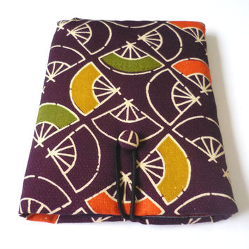 Padded Kindle Paperwhite case / kindle paper white cover with wool from Japanese vintage kimono, geometric fan pattern fabric