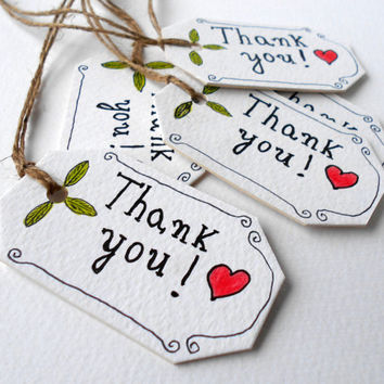 Customizable Hang tags Thank you , Set of five cardstock tags for gifts and crafts, gift tags with satin ribbons or natural linen thread