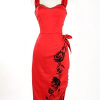 Fall Spanish Capsule Collection Deadly Dames Senorita Sarong Dress in Red with Black Rose boarder Print and Matching Red Bolero with lace Trim.