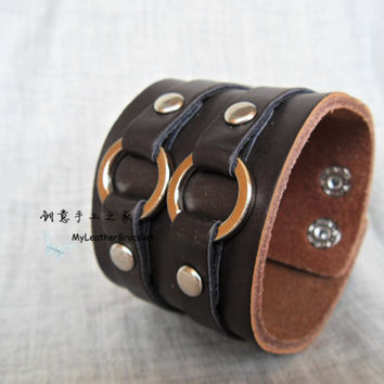 Men's Brown Leather Cuff Bracelet, Leather Wrist Band Wristband ,Adjustable Snap Closure Leather Bangle Bracelet,Steampunk Leather Bracelet