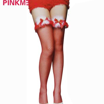 Sexy Women Christmas Fancy Stockings Red Black Silk Stocking Wool Ball Bow Bell Over Knee Socks Intimate Sexual Fantasies Gift