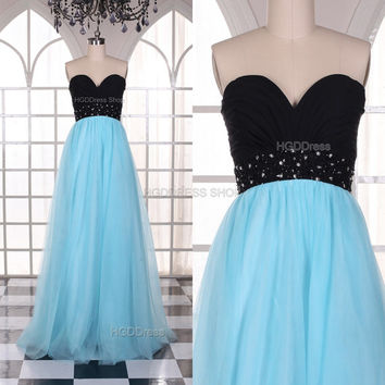 Blue Bridesmaid Dress Glamorous Long Prom Dresses Long Satin Formal Dress Long Tulle Evening Party Dress With Beaded Rhinestone