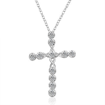 CZ Studded Cross Necklace