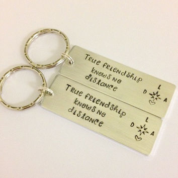 Long distance friendship set, Personalized key chain set, hand stamped key chain set, best friend gift, friendship gift,