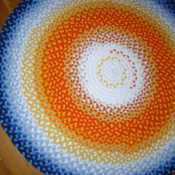 "Rug round 35"",white,orange,yellow,blue colors, hand braided from cotton t-shirts. MADE TO ORDER"