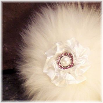 Luxury Powder Puff Pure Merino Wool Pink Crystal and Pearl Handle | Soapsmith - Bath & Beauty on ArtFire