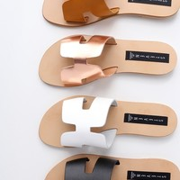 Greece Rose Gold Leather Slide Sandals