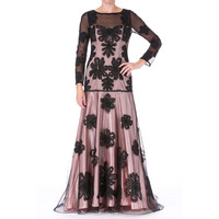 Sue Wong Womens Mesh Prom Semi-Formal Dress