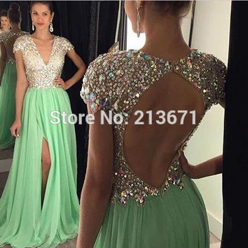 Long Evening Dresses 2016 Green Slit Crystals Beaded V Neck A Line Vestidos De Festa Prom Party Dresses Free Shipping Custom SJ