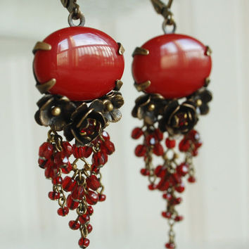 red chandelier earring, pomegranate merlot mata hari earring, ornate floral jewelry, beaded glass fringe, boho brass rose earrings, ruby red