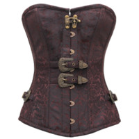Double-Buckled Brocade Overbust Corset - VG-0148 by Medieval Collectibles