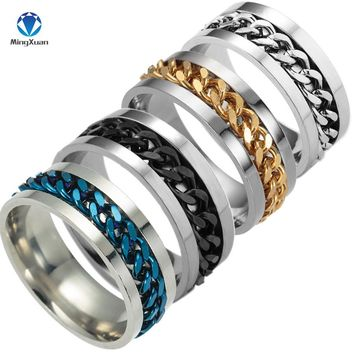 MINGXUAN New High-end boutique men's stainless steel gold black silver chain rotatable ring finger tide personality 4colors