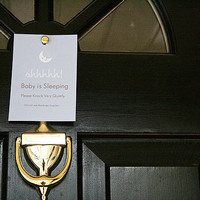 Baby Sleeping Front Door Sign