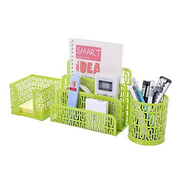 Crystallove Set of 3 Metal Mesh Office Desk Accessories Organizer, Green-Style 1