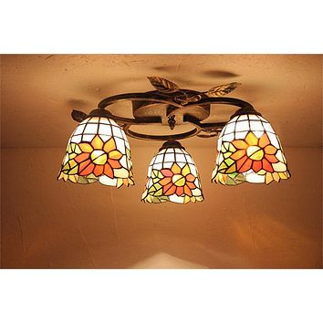 European Style Dragonfly Rose Ceiling Lamps Stained Glass