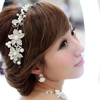 Boutique Wedding Silver-tone Flower Pearl Bead Hair Comb Hair Pins Bridal Accessories