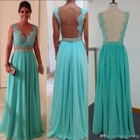 2014 Cheap Prom Dresses Sexy Green Chiffon and Sheer Back With Crew Neckline Sheath Beaded Floor Length Occasion Dresses Dhyz 01