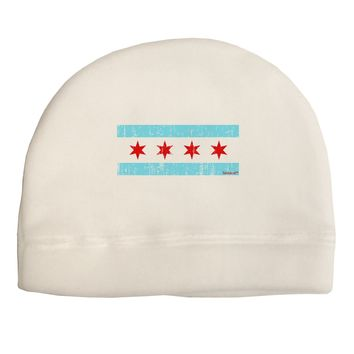 Distressed Chicago Flag Design Adult Fleece Beanie Cap Hat by TooLoud