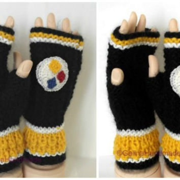 Pittsburgh Steelers Knit Fingerless Gloves  Wrist Warmers  Hand Warmers Black White Yellow Blue