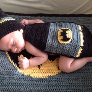 Handmade Crochet Batman inspired outfit set (blanket, hat, mask and cape) in any size you like.