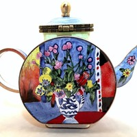 Matisse Flower Vase with Two Handles Miniature Porcelain Teapot 3.75H