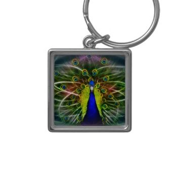 Peacock dreamcatcher Silver-Colored square keychain