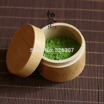 Traditional bamboo green tea powder tea caddy in the tea pot barrel outlet Japanese matcha tool canister tea-leaf tin food can