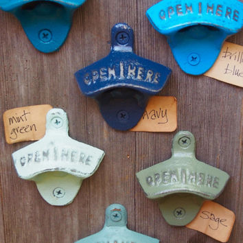 "FAST SHIPPING - Your choice of 16 Colors Wall Mount Bottle Opener-Hand Painted Distressed ""Open Here"" Listing is for 1 - matching screws"