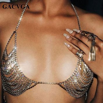 GACVGA 2018 Summer Sexy Gold Sequined Women's Bra Cropped Top Women Party Short Diamond Bra Beach Bralette Tank Crop Tops