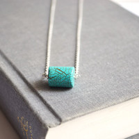 Minimal Turquoise Jewelry. Blue Cylinder  Pendant. Turquoise and Silver Chain Simple Modern Jewelry