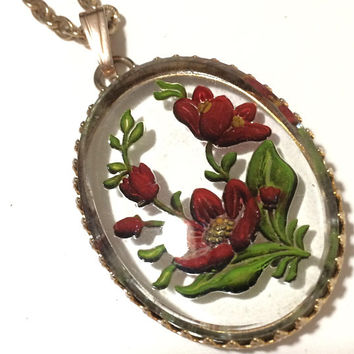 Painted Intaglio Glass Floral Pendant Red Poppy Flowers Necklace Reverse Painted Red Flowers Mid Century Jewelry, 518