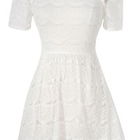 Cute Off White Lace Dress, Off White Lace Peter Pan Collar Dress, Rehearsal Dinner Dress, Embellished Peter Pan Collar Dress, Pearl and Rhinestone Embellished Peter Pan Collar Lace Dress in Off White