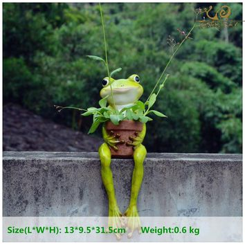 Everyday Collection Resin Frogs hold flower pots Home Decoration Accessories &fairy garden decoration &Succulent bonsai planter