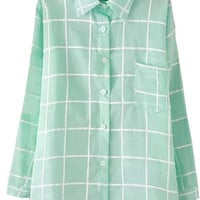 Green Plaid Shirt Collar Long Sleeve Buttons Blouse