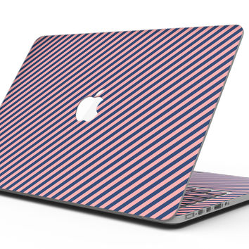 Coral and Navy Blue Diagnoal Stripes - MacBook Pro with Retina Display Full-Coverage Skin Kit